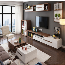 Modern high gloss white and walnut veneer with the large capacity coffee table for living room sets