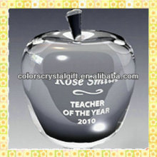 Hot Sale Clear Crystal Apple Shape Paperweight For Christmas Eve Gifts