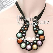 fashion pearl costome handmade fabric neckalce jewelry