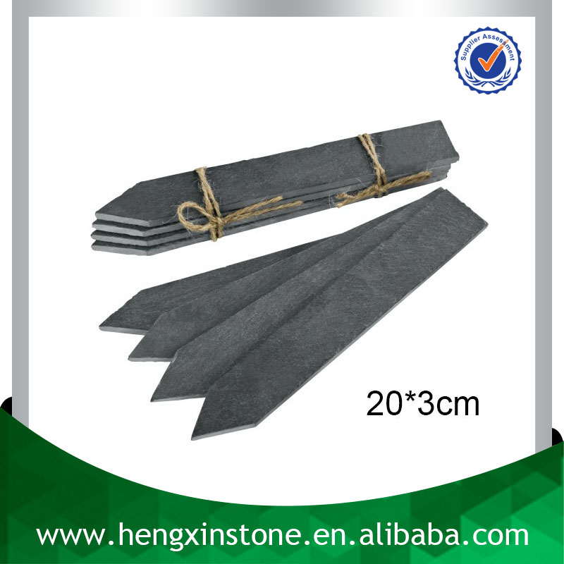 Factory Direct Price Handmade Decorative Arrow Shape 20*3cm Cut Edge Black Slate Plant Label Cheap Plant Marker For Garden