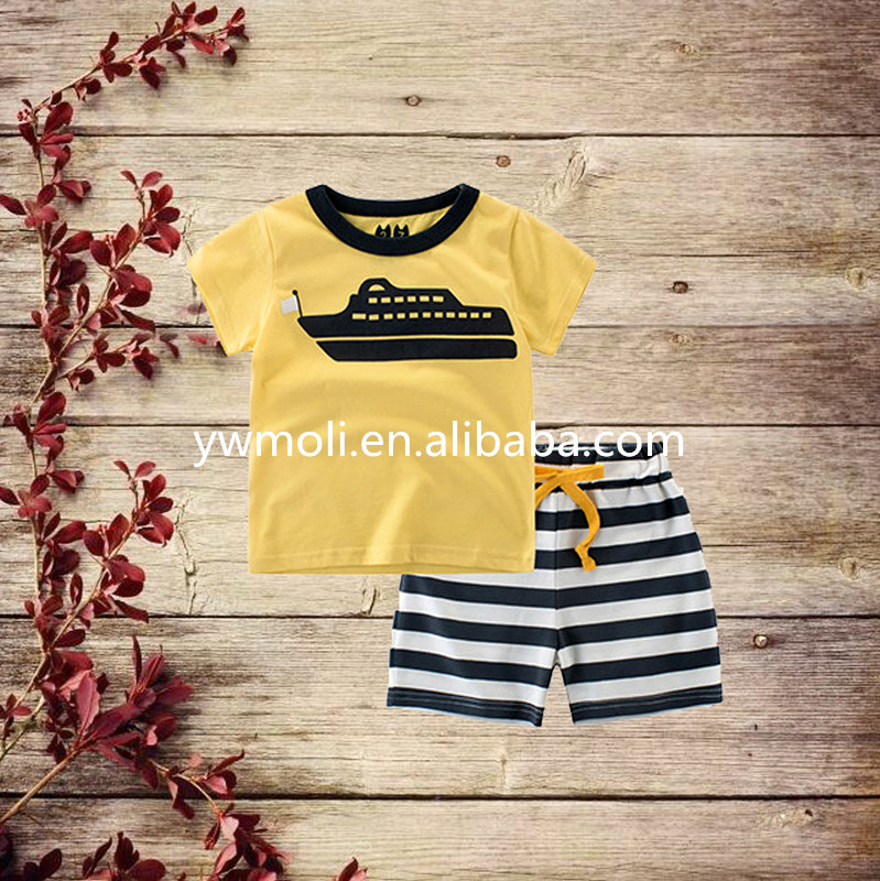 2017 moli new fashion baby boy boutique cruise print tops and stripe short sets for boys