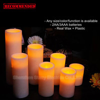 hot sale battery operated Christmas flameless wax led taper candle with timer function