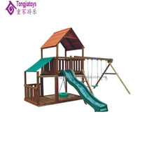 outdoor wooden swing designs children school swing sets with long slides plastic toy wood equipment