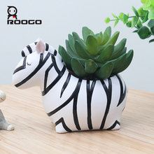 Roogo hot sale indoor resin special design cute cartoon zebra shape succulent desk decor plant pots for child gift