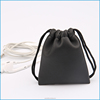 Short sample time black soft leather drawstring jewelry pouch bag