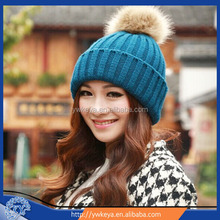 2014 Sell Fashion Acrylic Hat,Graceful Women Knitted Winter raccoon fur cap