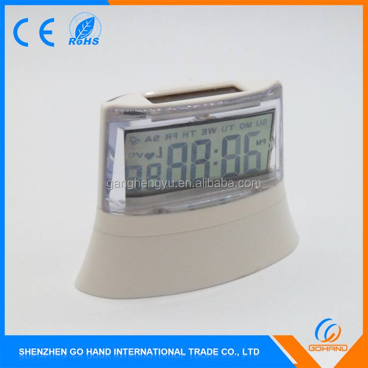 Wholesale Promotional Alarm and Snooze Lcd Solar Powered Digital Clock