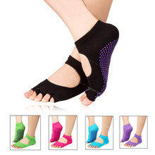 hot sale non slip toeless yoga socks with grips wholesale