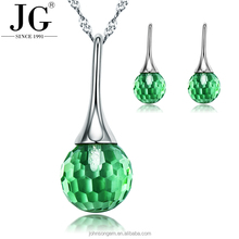 Silver 925 diamond emerald necklace set jewelry wholesale, green crystal ball pendant design necklace and tassel earrings set