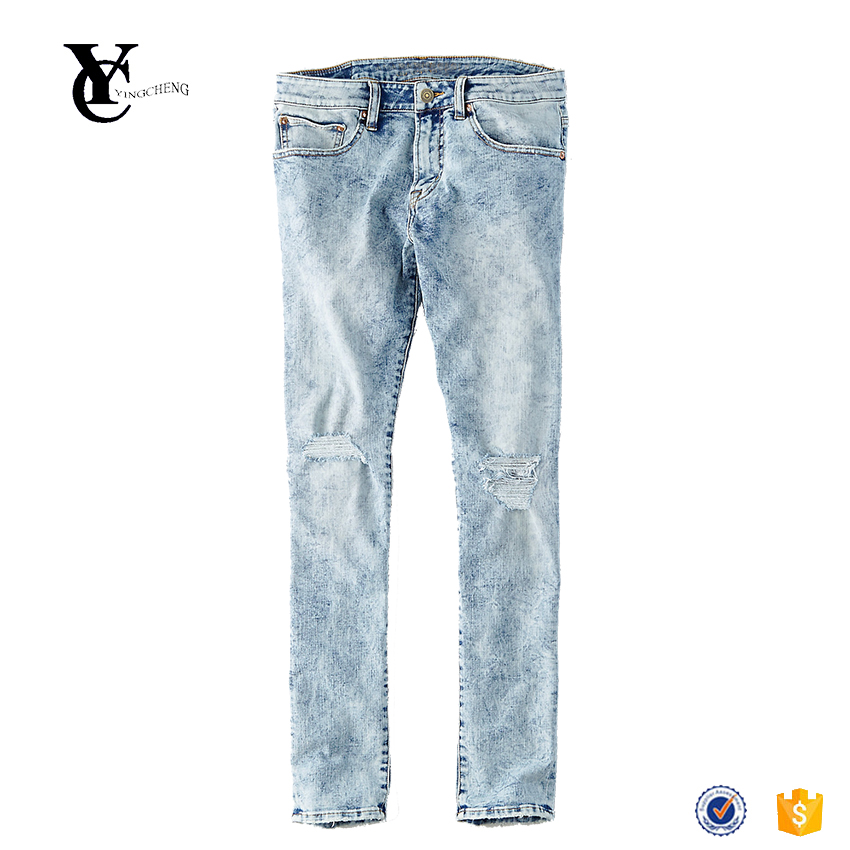 Best selling items customized extreme flex slim taper jeans destroyed knee holes acid wash jeans factory China