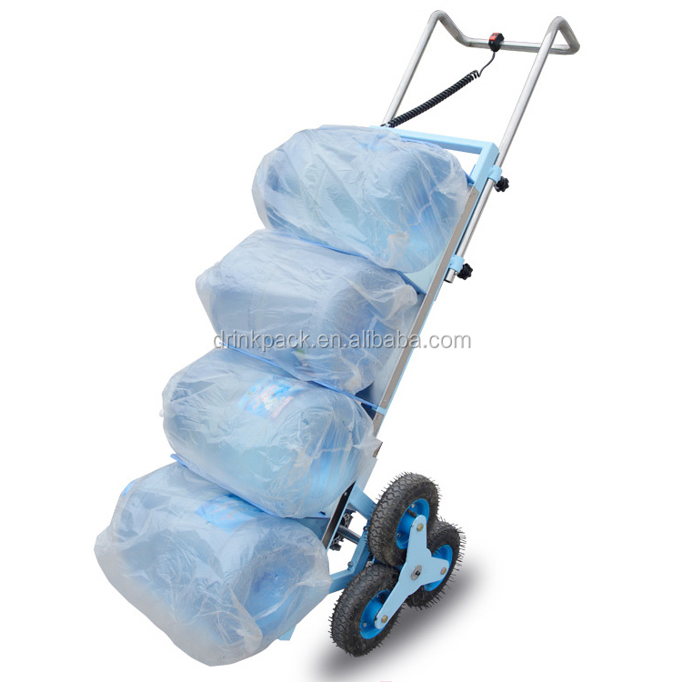 6 wheels foldable electric stair-climbing tray trolley for 5 gallon bottled water