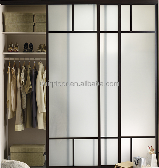 Latest design interior closet sliding door with frosted glass