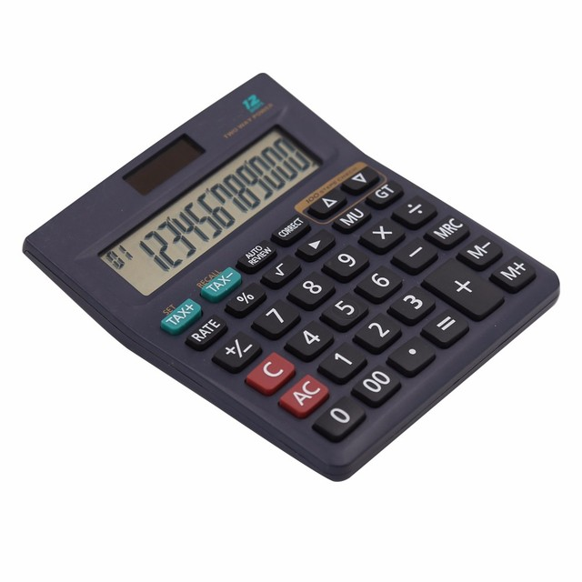 12 digits 100 check steps business calculator with tax function