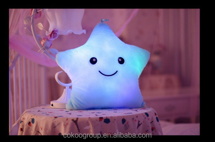 New HOT Colorful LED luminous stars wholesale High quality stuffed plush toy led pillow
