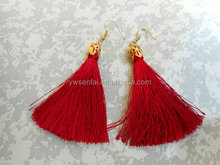 2017 Hot sale fashion tassel earrings red color silk thread earrings with gold plated hoop