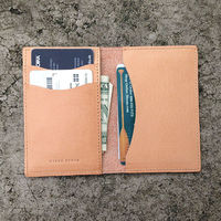 Deluxe Leather Card Wallet,Bifold multifunctional men's leather card case ,Personalized natural veg tan leather card sleeve