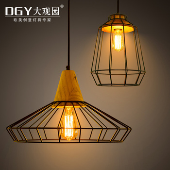 Loft iron cage wooden indoor hanging vintage pendant light