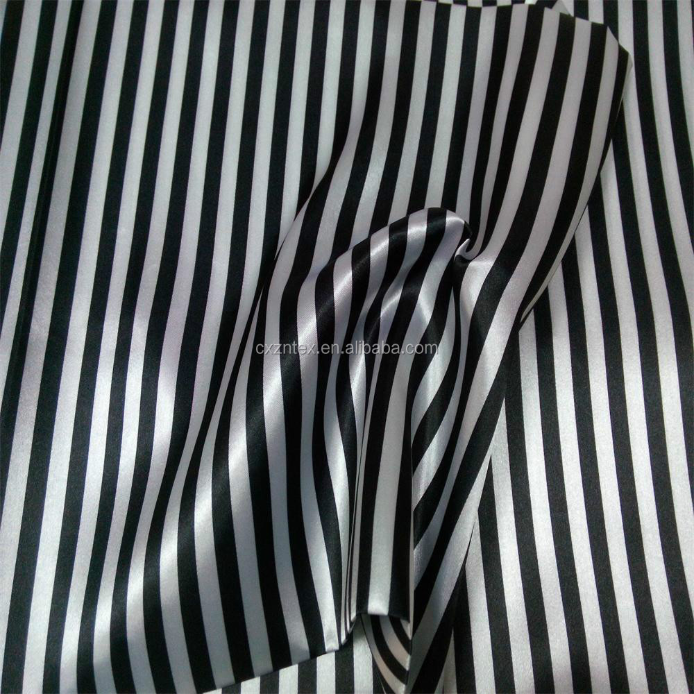 Black and white stripe satin fabric
