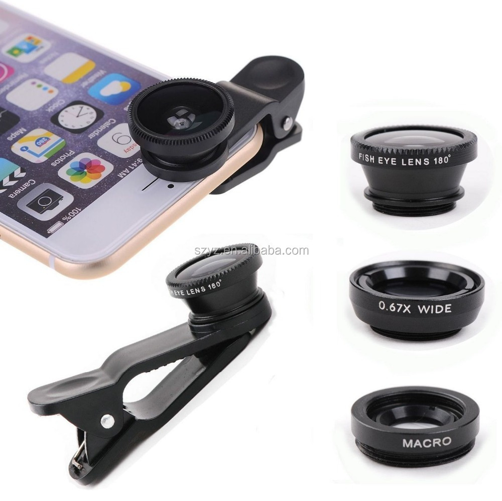 2016 Universal 3 In1 Fisheye Macro Wide Angle Mobile Phone Camera Lens Clip Set fish eye lens for cell phone camera