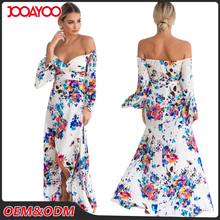 Summer Women Casual Designer One Piece Off The Shoulder Sexy Slit Long Sleeve Floral Maxi Dress