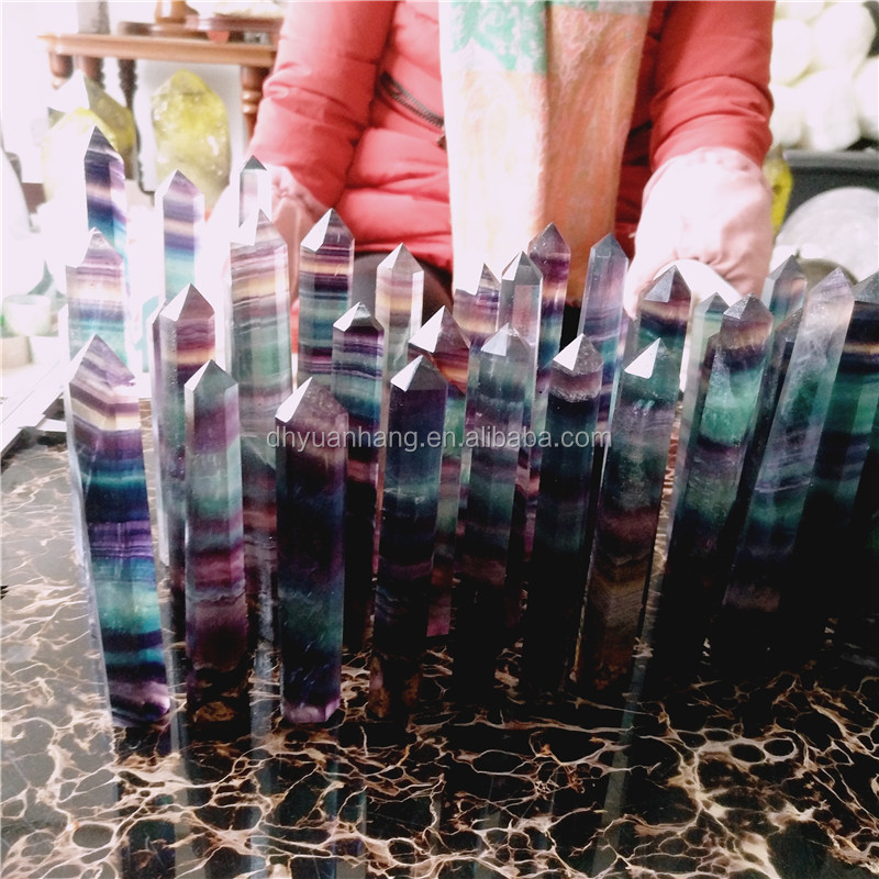 Rainbow fluorite stone points natural quartz crystal healing wands
