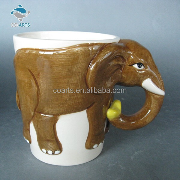 Cute functional design elephant coffee ceramic 3d animal mug