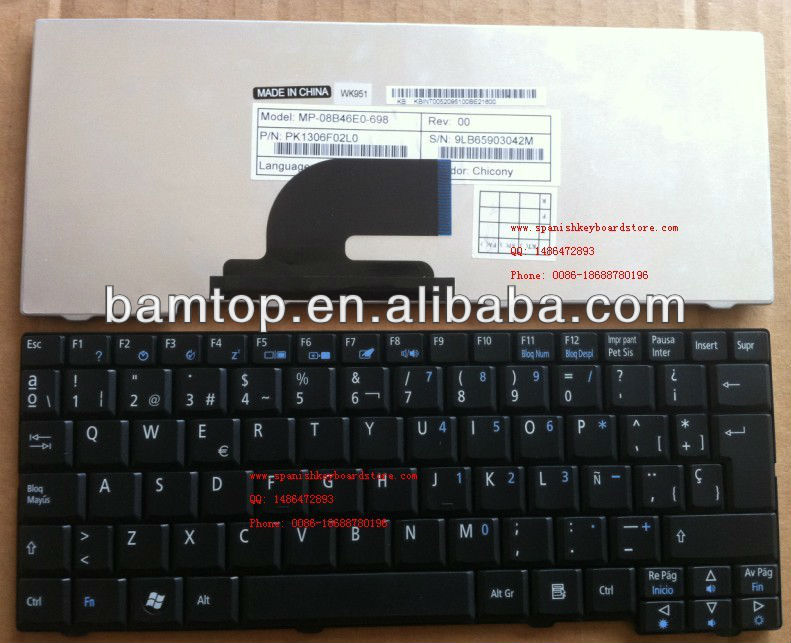 Latin keyboard for acer aspire one A110 A150 D150 D250 531H ZG5 teclado Spanish keyboard for acer