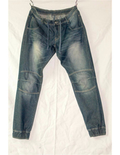 Royal wolf jeans manufacturer dark blue vintage wash with whiskers ribbed knee motocyle inspired jogger trousers