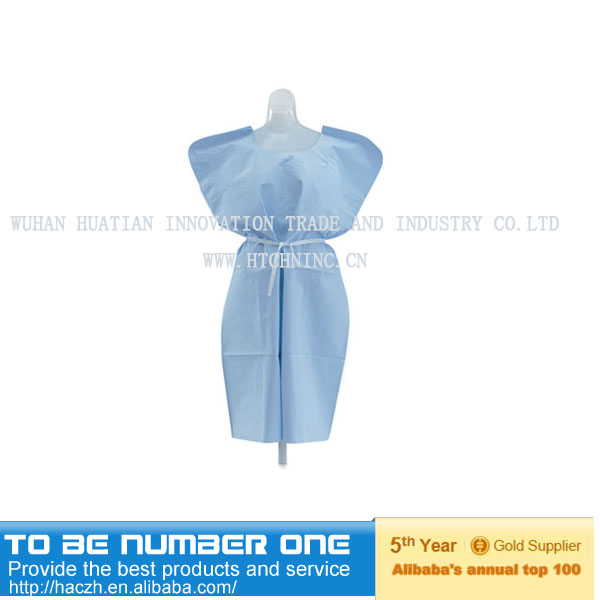 disposable nonwoven pants and short sleeve shirt with V- and round neck(patient gown) for medical and surgical use