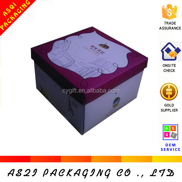 lid and base animal picture printing cardboard box for cake