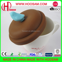 customized beautiful universal silicone rubber coffee tea cup mug press lids