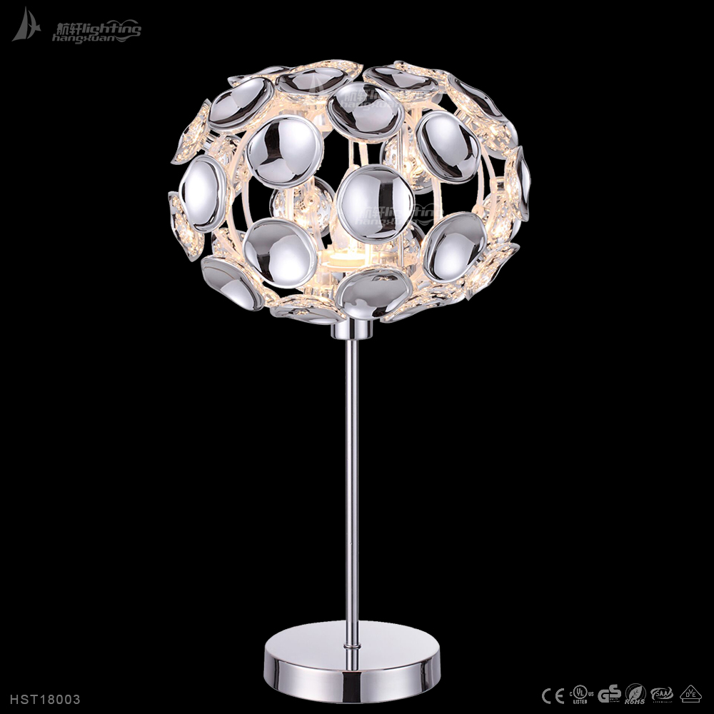 Modern Home Decor Silver Acrylic Chrome Single Arm LED Table Lamp