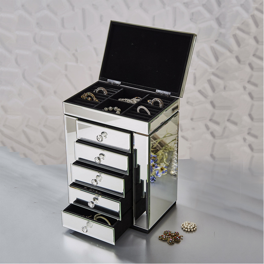 modern large mirrored jewelry box with drawers