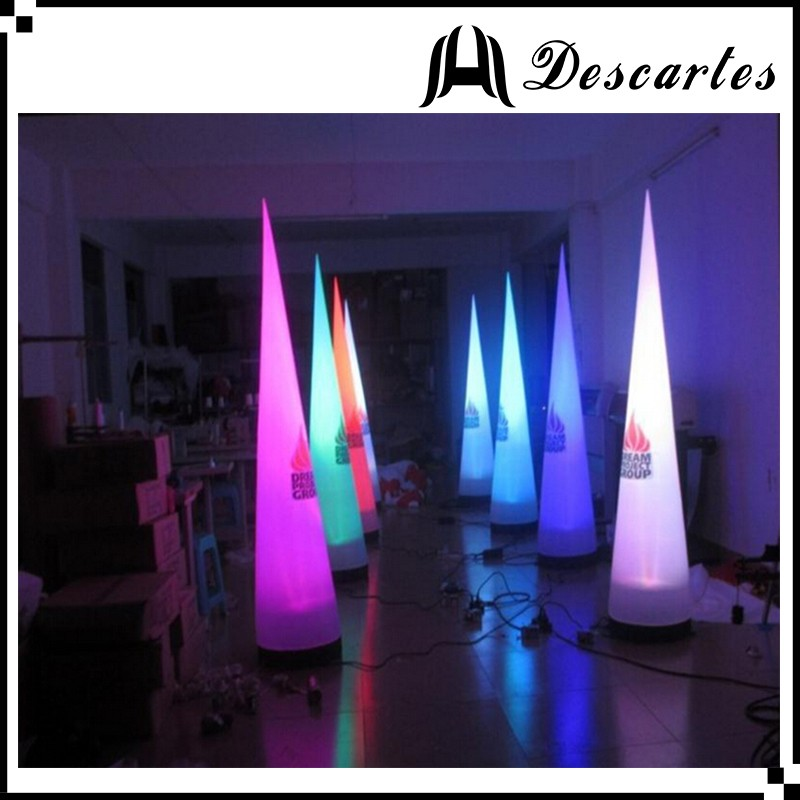 Custom made lighted advertising right cone/inflatable towers/ LED inflatable pillars for Christmas decoration