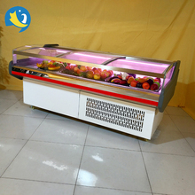 Luxury supermarket bachery meat display refrigerated counter showcase with flat glass door