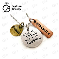 "ri-Tone Antique Silver ""Courage,Strength,Life is Tough I am a Tougher"" Inspirational Pendant Necklace Gift #LN1075"