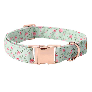 Custom Rose Gold Metal Buckle Fancy Dog Collars with Flower Print