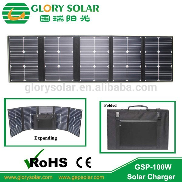 Best selling outdoor portable 100w 1/4 Cell Folding solar panel charger/solar bag for laptop