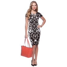 New York Women's Black and White Animal Print Sheath Dress