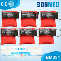 Red CPR Mask Keychains/CPR Face Shield With One-Way Valve ,Many colors available