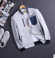 MS70402G 2016 fashion stand collar jackets men's slim fit zipper up jacket
