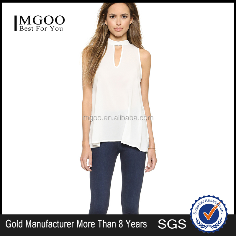 MGOO Fashion Muslim Tops Manufacturer Halter Sleeveless White Blouses For Women Plain Cotton 15120A339