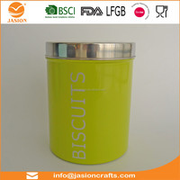 kitchen green canister storage metal container for coffee sugar tea