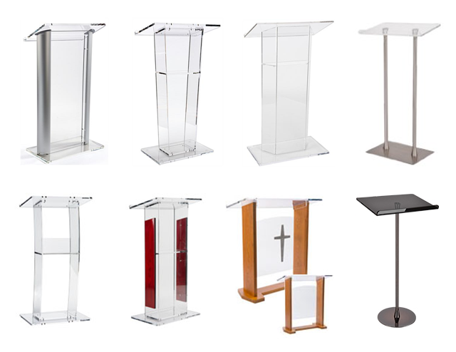 Curved Design Acrylic Perspex Podium with Interchangeable Panels