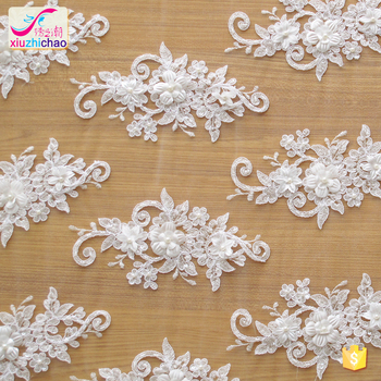 ZP0038-M glass beaded wedding dress fabric bridal gowns lace cord embroidery lace fabric