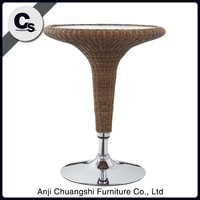 Outdoor round rattan bar table used for family reunion