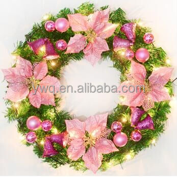 PVC/Pine needle hot selling christmas wreath door hanger for front door