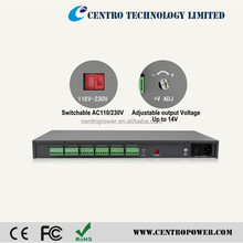 Hot sales dc12v 10a power distribution box with 18CH LED Meter power supply box
