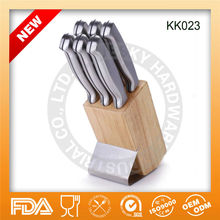 New 2013 Stainless steel with hollow handle kitchen knife block set KK023,FDA/LFGBLSGS