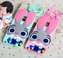 New designed Bunny silicone case cover for Samsung Galaxy Note 3 Note 4, Rabbit case for Galaxy Note 3